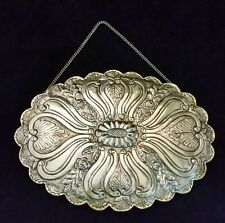 "Antique Silver Hanging Mirror Signed Balci 9.5x7"" Italian Repousse 900 Silver"