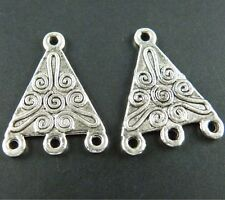 80pcs Triangle 3-to-1 Tibetan Silver Connectors 21.5x16x1mm 42