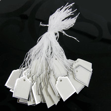 100 White SWING TAGS SILVER EDGE SQUARE Jewellery Pricing 22 x 19mm