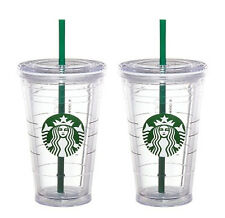 2x Starbucks Reusable COLD CUP GRANDE Coffee Clear Siren Logo Tumbler 2 straw 16