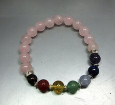 Rose Quartz 7 Chakra Bracelet -Stretch - Crystal Healing - Fast Free US Shipping