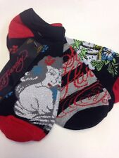 NEW Ed Hardy Women's 3-pack No Show Sock Red Black Grey Island Girl Size 9 - 11