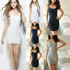Seamless Extra Long Solid Tunic Mini Slip Dress Camisole Plain Jersey Tank Tops