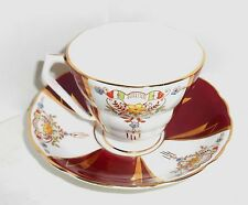 Radfords Fenton Bone China Tea Cup and Saucer Burgundy Floral Made In England
