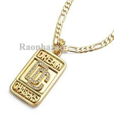 """SWAG MEEK MILL DREAM CHASERS DC MMG PENDANT 5mm 24"""" FIGARO CHAIN NECKLACE K7260G"""