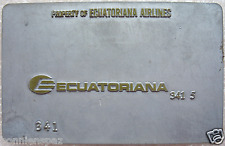 Vintage Ecuatoriana Airline Metal Ticket Validation Plate, Travel Collectible