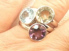 Estate Purple & Green Amethyst & Topaz Sterling SIlver Stacking Ring Signed A
