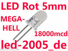 100 x LED Rot 5mm,18000mcd,20mA,625nm,LED 5mm Red,Rouges,Rossi,Rode,Rojos,