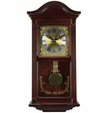 "Traditional Mahogany Cherry Wood 22"" Wall Clock with Pendulum and 4 Chime Modes"