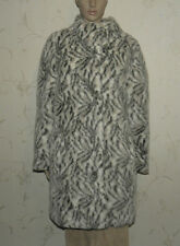 Vintage Grey & White Faux Fur DOBILAS Button Hip Length Winter Coat Sz 14 / 42