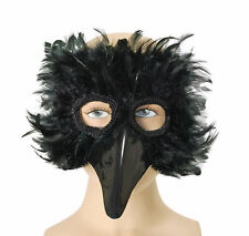 BLACK FEATHERED  BIG BIRD EYE MASK FANCY DRESS