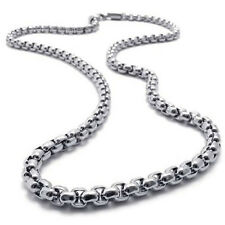 "MEN 2MM Silver 20"" Stainless Steel Pearl Box Chain Necklace Fashion Pendant 1PC"