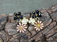 Black, White, and Pink Flower Enameled Fashion Stud Earrings, #cus622