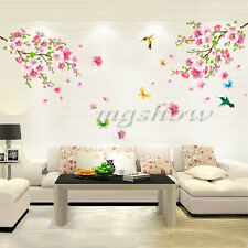 Cherry Peach Blossom Butterfly Removable Wall Sticker Mural Vinyl Room Decal Art