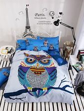 NEW SELL Queen Size Bed Set Pillowcase Quilt Duvet Cover Elegant Owl Cute Blue K