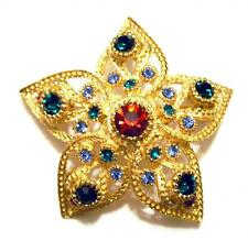VINTAGE FLOWER STAR PIN MULTI COLOR RHINESTONE CRYSTAL GILDED GOLD SPHINX BROOCH