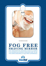 SHAVE WELL FOG FREE SHOWER SHAVE MIRROR  - enjoy a fogless shave in your shower