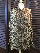 Ralph Lauren Women's 100% Silk Leopard Animal Print Blouse Plus Size 3X Career