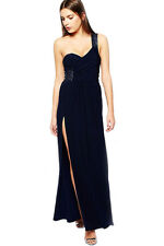 Navy Blue Sequin Embellished Shoulder Side Night Club Maxi Dress