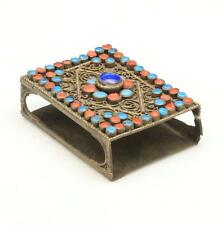 Vintage Antique Brass Filigree Coral Turquoise Glass Match Box Cover Nepal Tibet