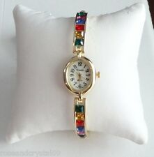 NOBILITY~ AUSTRIAN CRYSTAL GOLD TONE LADIES BANGLE WATCH ~*~NEW~*~