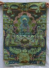 Tibet Tibetan Silk Satin Shakyamuni Amitabha Buddha Thangka Painting Mural