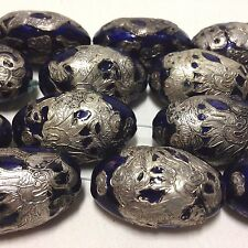 Vintage Oval Cobalt Enameled Copper Bead with Silver Dragon 35x21x18mm, One Bead
