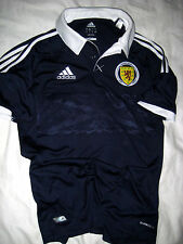 WORLD CUP SCOTLAND ADIDAS SOCCER JERSEY SHIRT-SEWN PATCH-SNAP PLACKET-NICE!- S