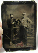 UNUSUAL Tintype Photo  - Fireman ? Uniform 1870s Two Men