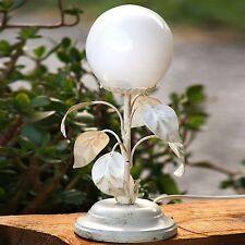 Tischlampe Glaskugel mit großen Blättern Shabby Chic Lampe creme Blätter Blume ❤