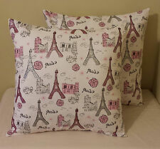 Set of 2 white pink silver glitter Paris Eiffel Tower pillow covers sham 18x18