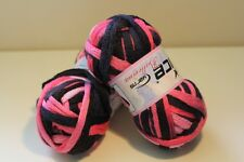 200g Ice Yarn Ballerina frilly scarf yarn lot of 2 X100g skeins black pink color