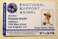 ESA Emotional Support Animal ID Card Therapy Dog ID Badge Service Dog ADA 24