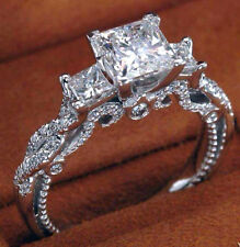 2.88Cts Princess cut 10K White Gold  Engagement Three-Stone Ring & Certified