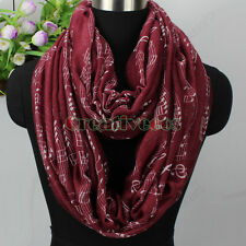 Fashion Women's Musical Notes Scale Treble Clef Print Casual Long/Infinity Scarf