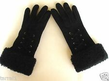 rag & bone New York Black Leather and Lamb Shearling Gloves Size 6 1/2