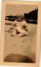 Vintage Antique Photograph Adorable Little Baby Sitting in The Sand Cute Hat