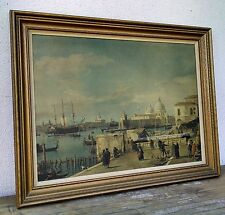 Large Framed Vintage Print of Painting by Canaletto of Venice Canal Scene, Italy