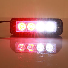 4 LED 4W 12V Emergency Flash Light White/Red Strobe Warning Grille Hazard Lamp