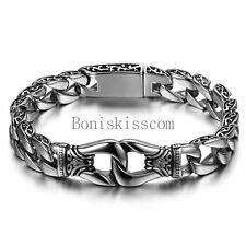 Stainless Steel Vintage Heavy Wide 15mm Biker Men's Chain Bracelet 8 Inch Silver