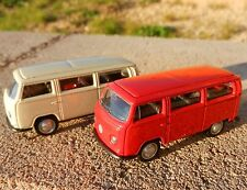 1:64 WELLY = 1972 Volkswagen T2 BUS *SET OF 2* RED & TAN *DIECAST* NEW!