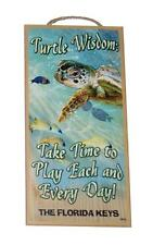 "Turtle Wisdom Take Time to Play Inspirational 5""x10"" Wood Plaque Sign for Wall"