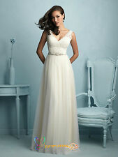 Gorgeous Tulle Lace Wedding Dress Princess Ball Gown V Neck Bidal Gown Customise