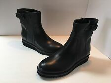 New Vince Women's Black Leather Ankle Boots Made In Italy, Size EU 41, US 9 1/2M