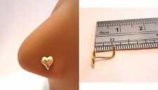 18k Yellow Gold Plated Nose Piercing Stud Pin Ring L Shape Heart 20 gauge 20g
