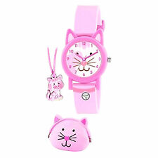 Tikkers Ragazze Kitty/Cat Orologio, Borsetta & Collana Regalo Set/REGALI DI NATALE STOCK