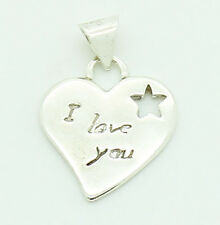 925 Sterling Silver I Love You Heart Charm Pendant 2.5g