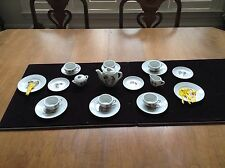 "Miniature China Tea Set 6 Cups & Saucers, Tea Pot, Sugar, Creamer ""Japan"""