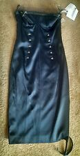 Christian Dior Black Satin Sexy Pencil Dress with Studs/Leather Trims NWT Size 6