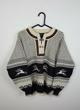 MENS VTG RETRO AZTEC CHUNKY KNIT NORWEGIAN CLASP OVERSIZED SWEATSHIRT JUMPER M